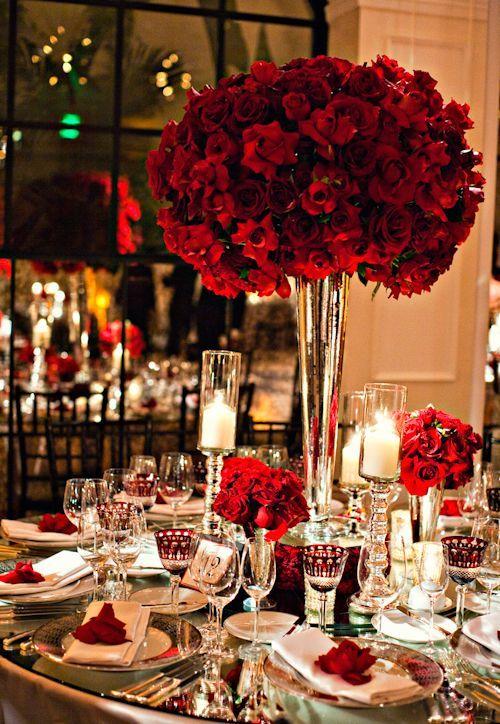 hiasan meja mawar merah