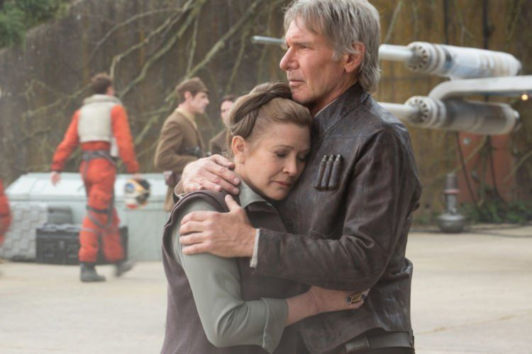 Star Wars: The Force Awakens..L to R: Leia (Carrie Fisher) & Han Solo (Harrison Ford)..Ph: David James..© 2015 Lucasfilm Ltd. & TM. All Right Reserved.