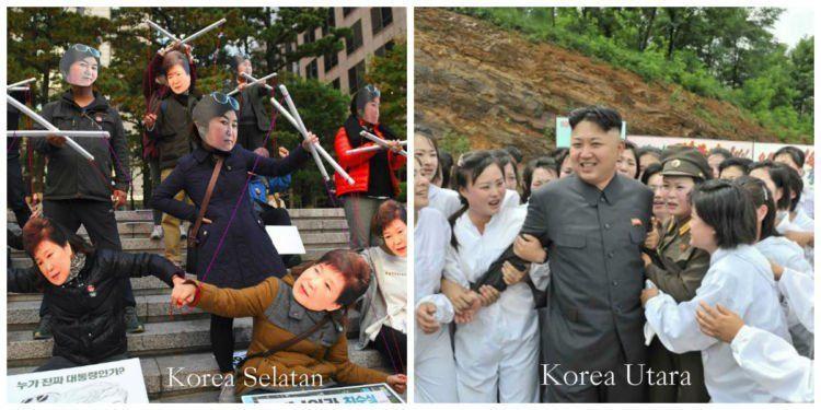 Karena skadal, presiden Korsel diprotes dan dihujat. Di Korut, apapun yang dilakukan, Kim Jong Un tetap dipuja