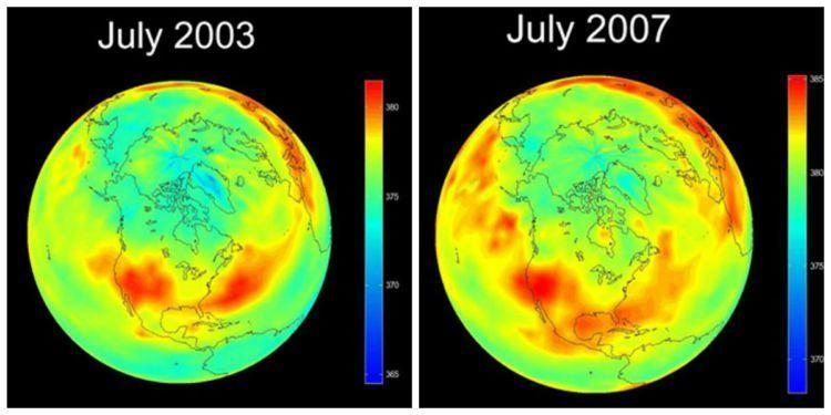 warna merah menunjukan daerah yang konsentrasi karbondioksidanya tinggi