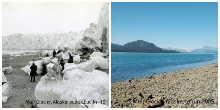 Perbedaan Muir Glacier di Alaska