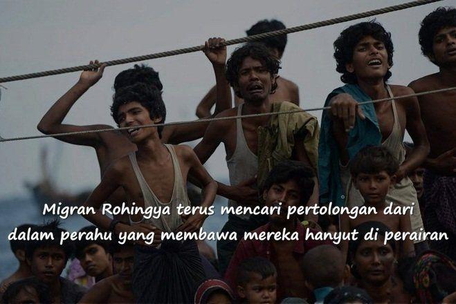 ribuan migran Rohingya harus berdesak-desakan di dalam kapal untuk melarikan diri