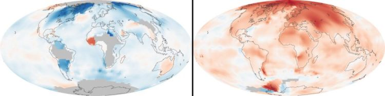 Perbandingan suhu bumu tahun 1951 dan 1980. Suhu bumi meningkat 1,8 derajat Fahrenheit sejak tahun 1880