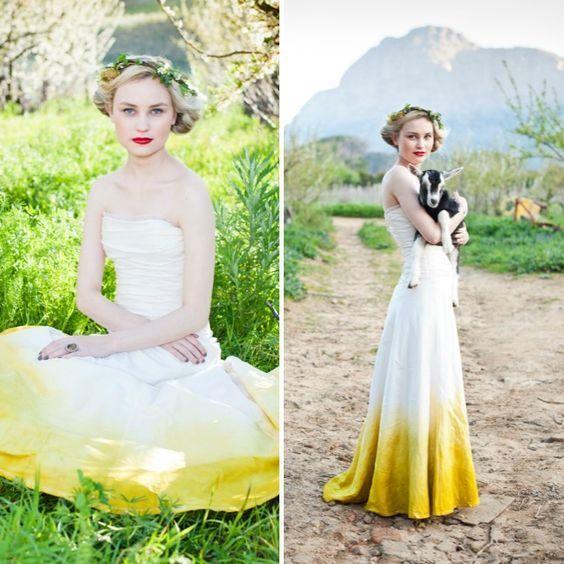 gaun minimalis ombre kuning