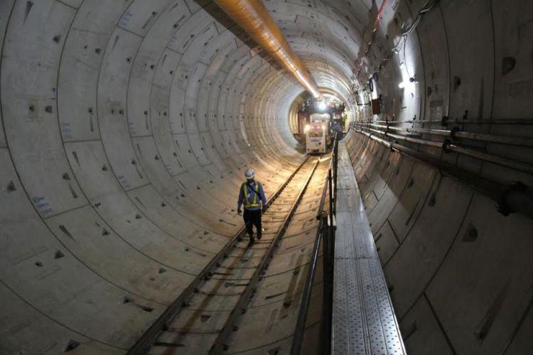 Penampakan terowongan untuk MRT
