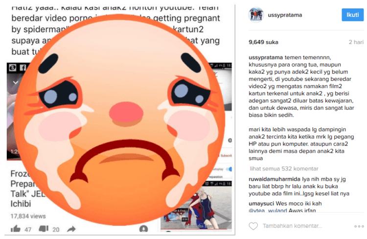 Ussy turut memperingatkan orang tua lewat Instagramnya