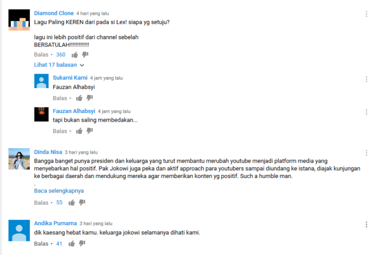 Komentar-komentar positif tentang lagu Kaesang