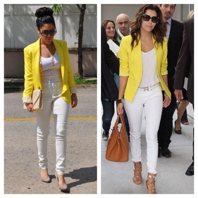 Blazer kuning dengan jeans
