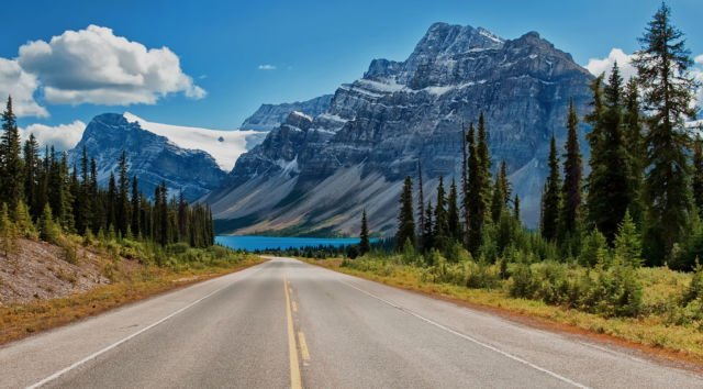 Canada Canadian Rockies road trees lake mountains wallpaper