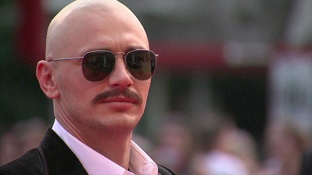 James Franco Bald with mustache