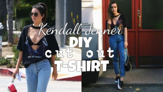 Kendall Jenner Inspired DIY Cut Out T-shirt