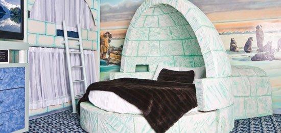 kamar dengan kasur iglo