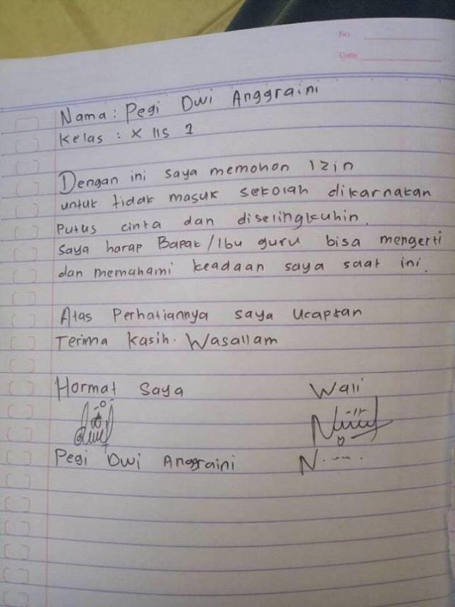 8 Surat Izin Nggak Masuk Sekolah Ini Kelewat Jujur Gurunya
