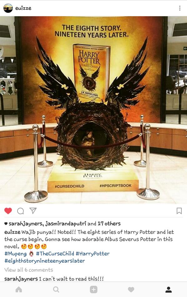Postingan Instagram ku saat tahu kabar Novel kedelapan akan rilis