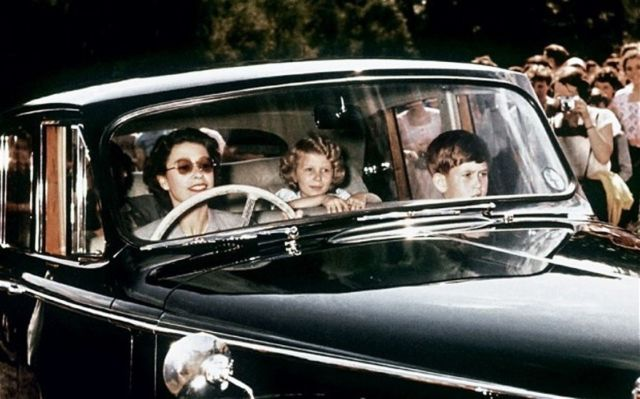 Queen Elizabeth II Driving Prince Charles & Princess Anne