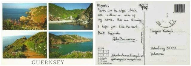 Kartu pos Guernsey yang saya terima. Sayang prangkonya hilang.