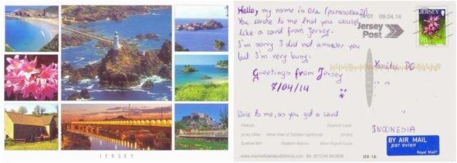 Kartu pos dari Jersey yang diterima salah seorang teman saya.