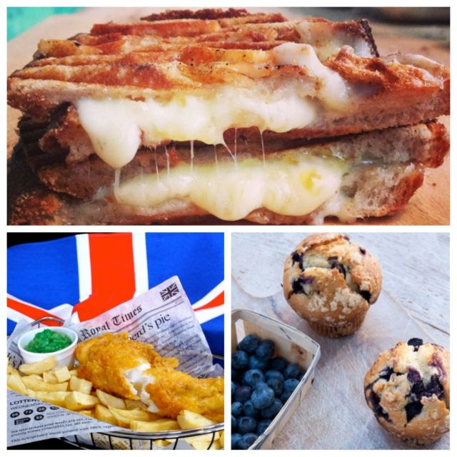 Fish & Chips, Toasted Cheese Sandwich And Muffin