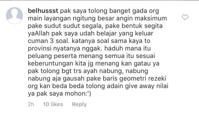request giveaway nilai