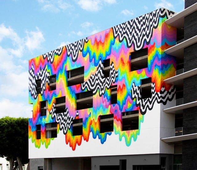 mural di bangunan parkir