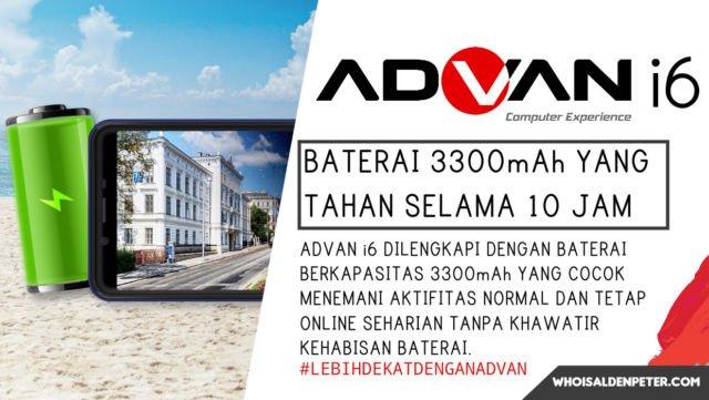 Baterai 3300 mAh dari Advan i6 yang tahan selama 10 jam