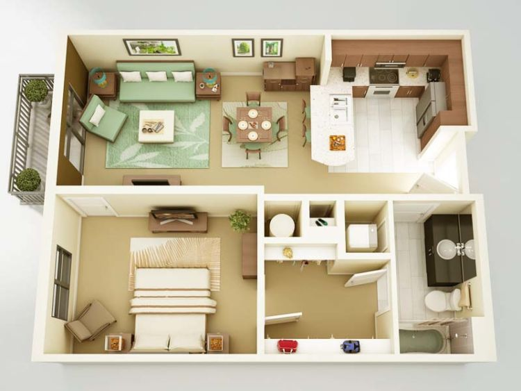 10 Ide Denah Rumah Pavilliun Minimalis 1 Kamar Buatmu Pengantin Baru Atau Yang Masih Melajang