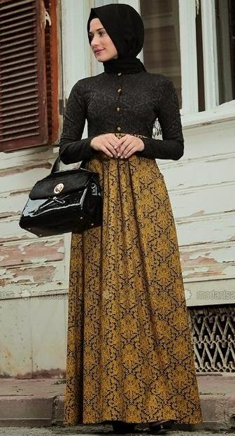 Gamis Batik Kombinasi Brokat