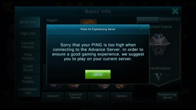 Tidak bisa masuk server advance