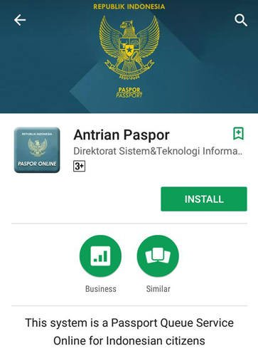 Aplikasi Antrian Paspor di Google Play