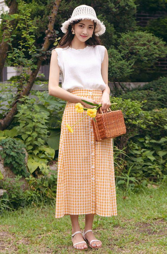 orange gingham skirt