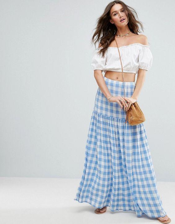 long maxi gingham skirt