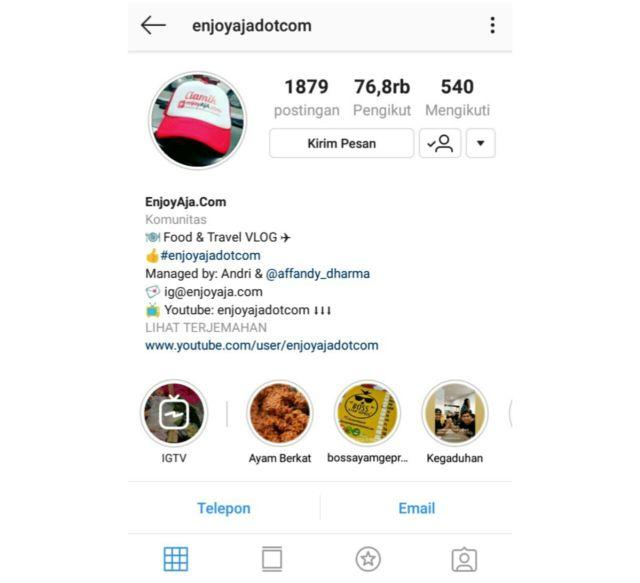 salah satu influencer instagram di bidang kuliner by akun @enjoyajadotcom