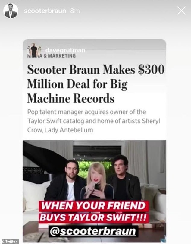 Post Insta Story Scooter Braun