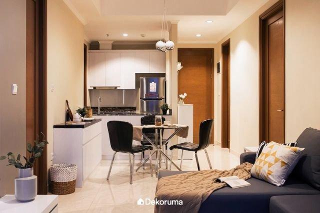Dapur dan Ruang Makan di Apartemen Mungil