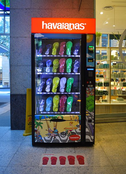 produk sendal di vending machine