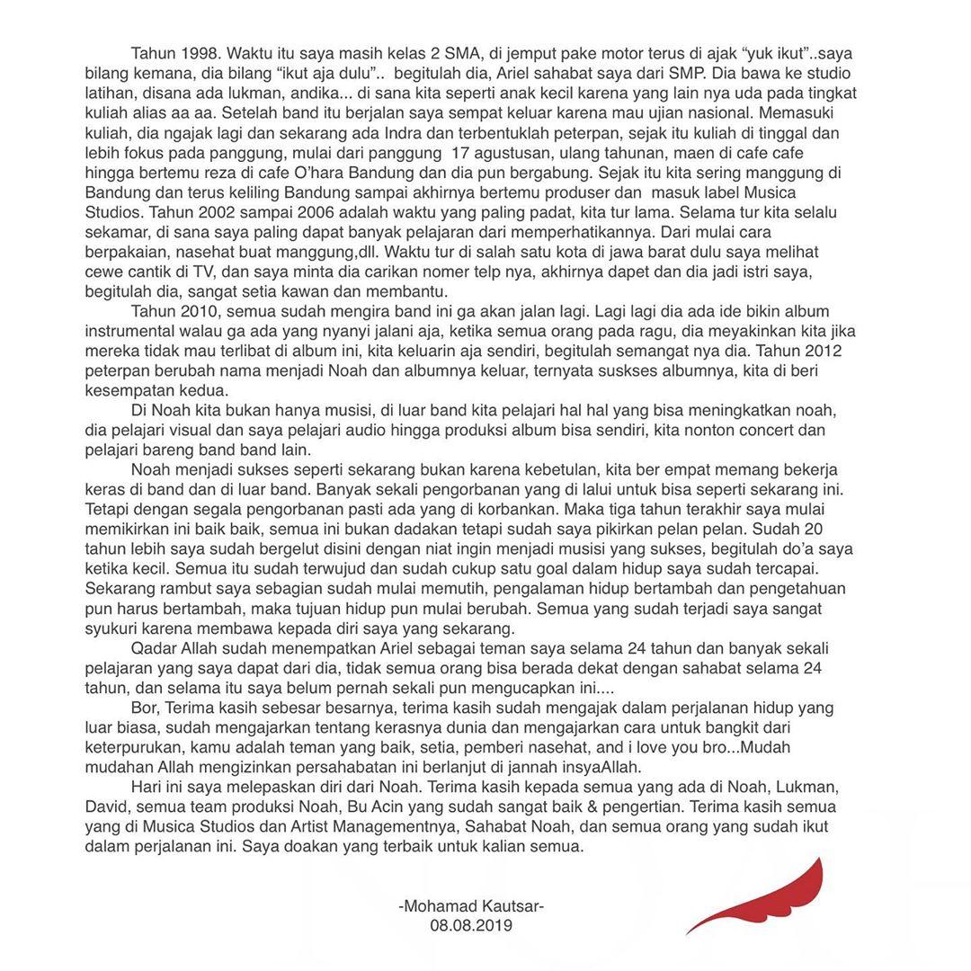 Bikin Mewek Uki Tulis Surat Perpisahan Untuk Ariel Saat
