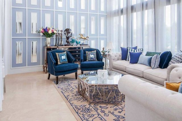 Desain interior warna biru Navapark di Tangerang karya PT Dekorasi Hunian Indonesia