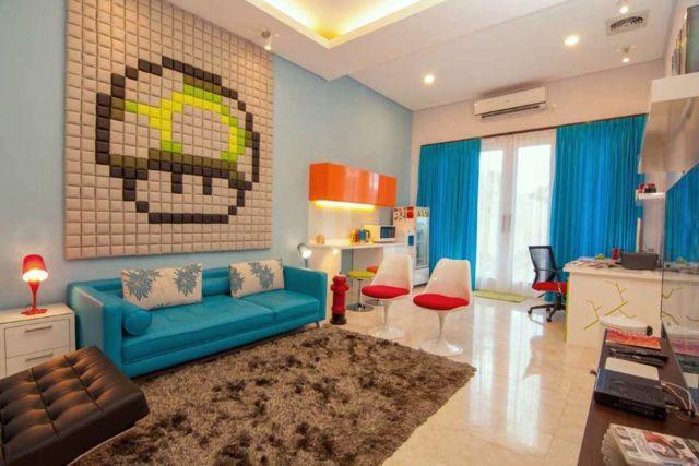 Desain interior warna biru Kemang Residence di Jakarta karya Vindo Design