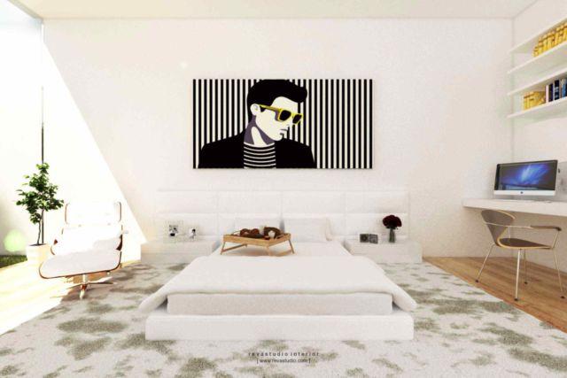 Posisi tempat tidur di tengah kamar dalam proyek Silviana Lowis, karya: Revano Satria