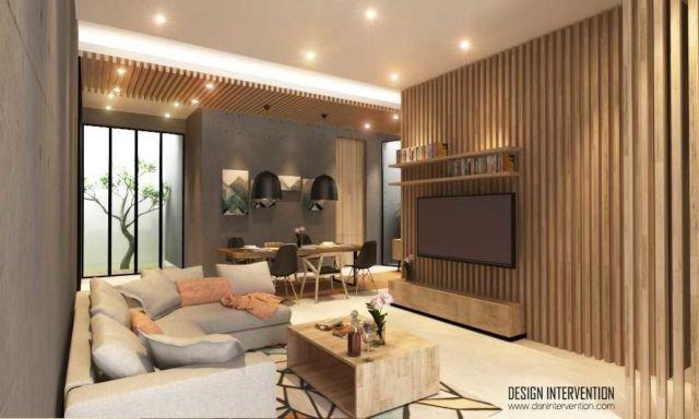 Ruang keluarga bergaya oriental, proyek K House oleh Design Intervention
