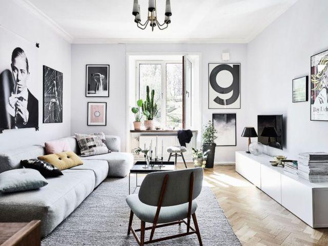 Ruang Keluarga Monokrom Skandinavia