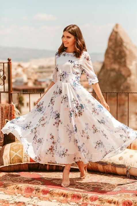 42 Adorable and Elegant Fashion for Fall with Flower Dress Style