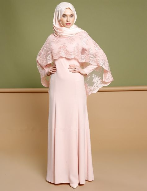 Womens modest full coverage long sleeve with cape for gown abaya