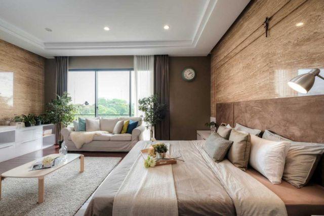 Kamar tidur R+E house di Jakarta karya DP+HS Architects