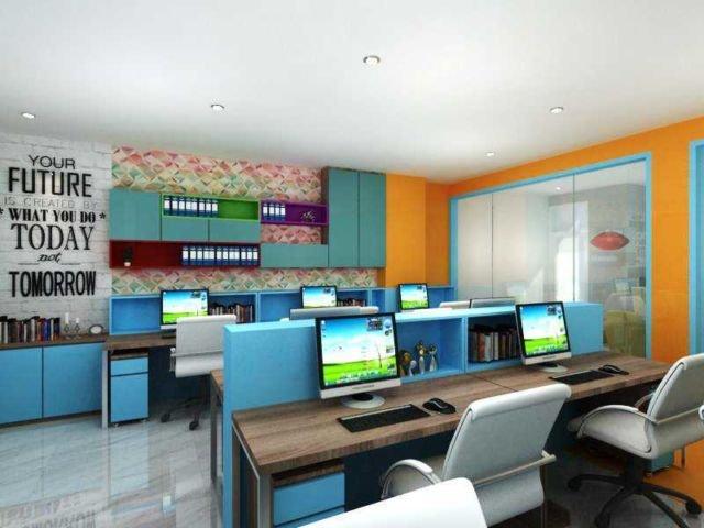 Ruang kerja penuh warna ceria, proyek Kemang karya Wawan Setiawan