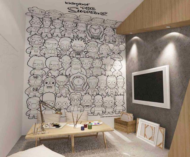 Dinding ruang kerja dipenuhi gambar kartun, proyek Paulus Hyu karya Revano Satria
