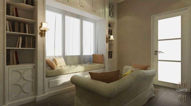 Perpustakaan mini di salah satu sisi ruangan Puri Galaxy oleh Lumos Interior Design