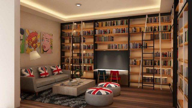 Perpustakaan dengan tempat duduk yang nyaman, proyek DE's House oleh Tridivan Architama