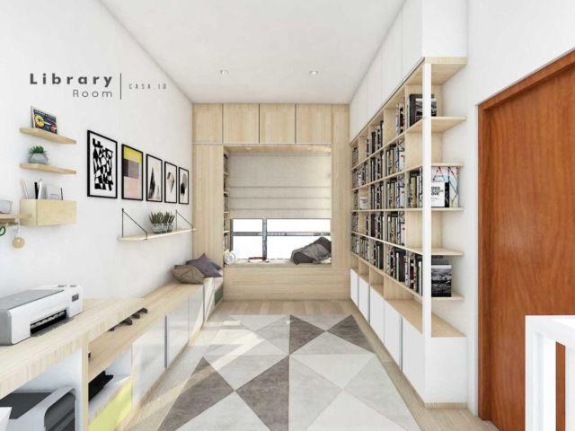Perpustakaan rumah di pojok ruangan, proyek DYG01 oleh Casa.ID Architecture Design