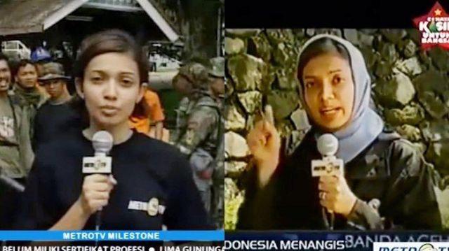 Mba Nana saat memberitakan tsunami Aceh 2004 silam.